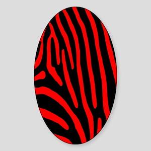 Red Zebra Stripes Sticker (Oval)