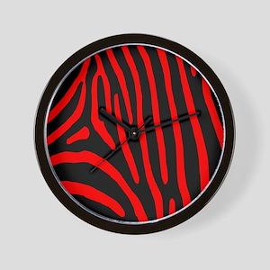 Red Zebra Stripes Wall Clock