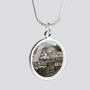 "Ancient Mayan Ruins ""Lumanai Silver Round Necklace"
