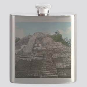 "Ancient Mayan Ruins ""Lumanai"" in Belize  Flask"