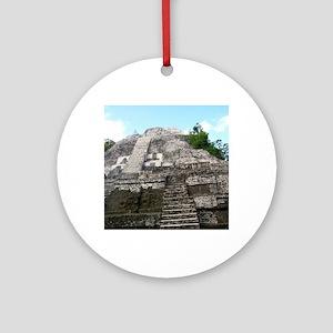 "Ancient Mayan Ruins ""Lumanai"" in Be Round Ornament"