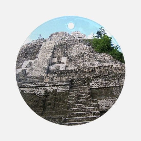 "Ancient Mayan Ruins ""Lumanai"" in Be Round Ornament"