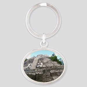 "Ancient Mayan Ruins ""Lumanai"" in Bel Oval Keychain"