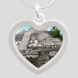 """Ancient Mayan Ruins """"Lumanai Silver Heart Necklace"""