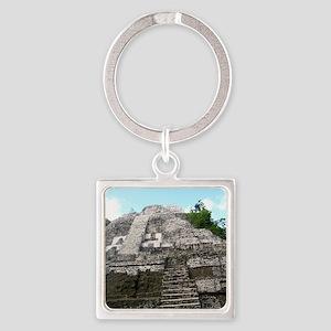 "Ancient Mayan Ruins ""Lumanai"" in B Square Keychain"