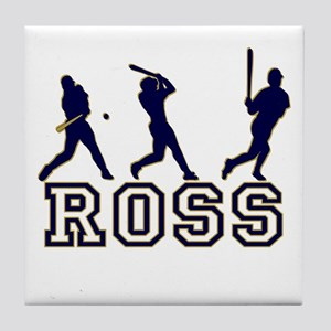 Baseball Ross Personalized Tile Coaster