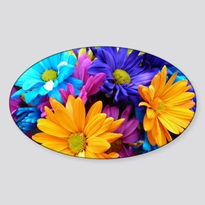 Neon Bouquet Arrangement Sticker (Oval)