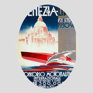 Antique 1930 Venice Lido Speed Boat  Oval Ornament