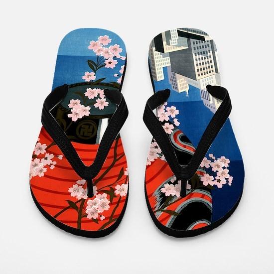 Antique Tokyo Japan Cityscape Travel Po Flip Flops