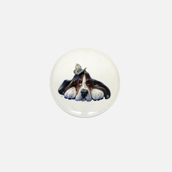 Cute Bassett hounds Mini Button