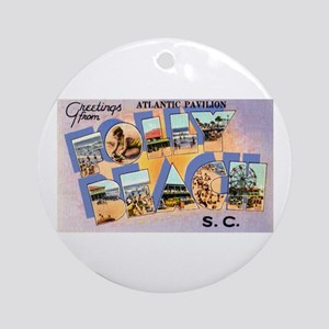 Folly Beach South Carolina Ornament (Round)