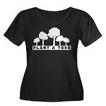 Plant Tree Women's Plus Size Scoop Neck Dark T-Shi