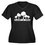 Plant Tree Women's Plus Size V-Neck Dark T-Shirt