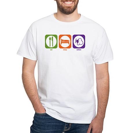 Eat Sleep Cotton White T-Shirt