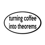 Mathematician: Coffee Into Theorems Oval Car Magne