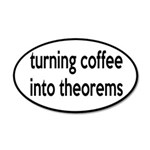 Mathematician: Coffee Into Theorems 20x12 Oval Wal
