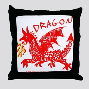 Red Gestural Dragon Throw Pillow