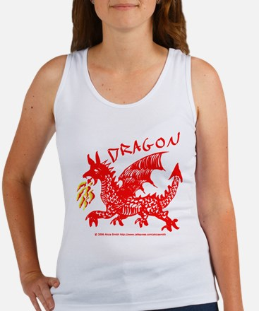 Red Gestural Dragon Women's Tank Top