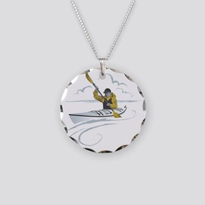 Kayak Guy Necklace Circle Charm