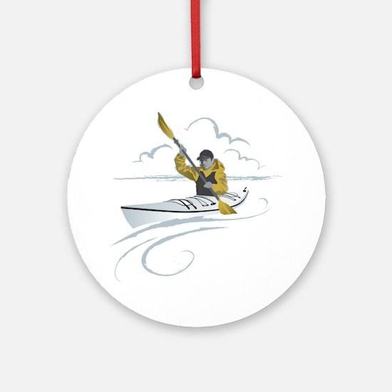 Kayak Guy Round Ornament