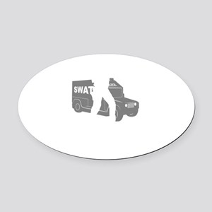 SWAT-Police-03-B Oval Car Magnet