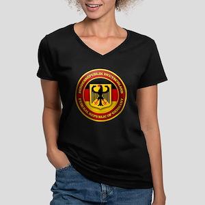 German Emblem Women's V-Neck Dark T-Shirt