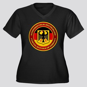 German Emble Women's Plus Size Dark V-Neck T-Shirt