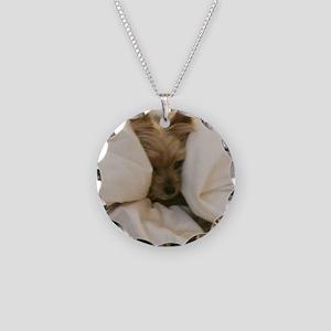 Yorkie Sleepy Necklace Circle Charm
