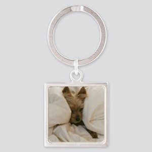 Yorkie Sleepy Square Keychain