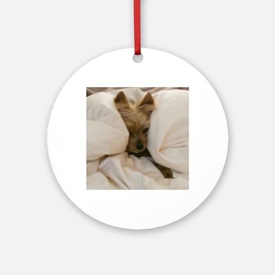 Yorkie Sleepy Round Ornament