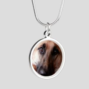 German Shepherd Silver Round Necklace