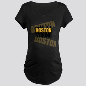 Boston Strong Orange Black Maternity Dark T-Shirt