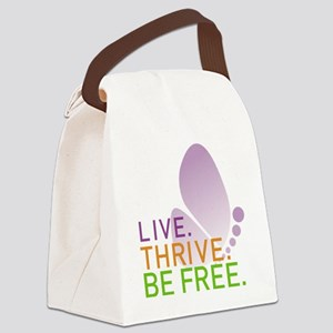 LIVE. THRIVE. BE FREE. on White Canvas Lunch Bag