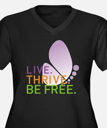 LIVE. THRIVE Women's Plus Size Dark V-Neck T-Shirt
