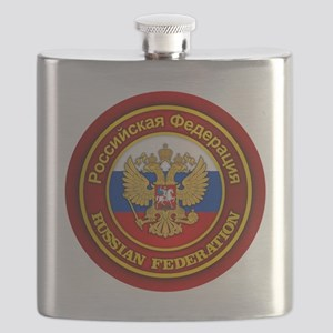 Russia COA (round) Flask