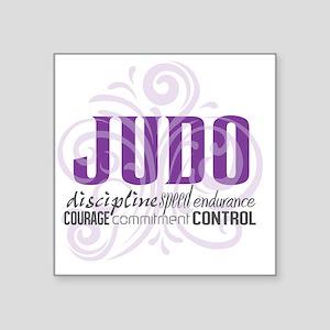 "Judo purple scrolls Square Sticker 3"" x 3"""