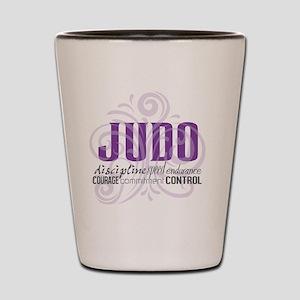 Judo purple scrolls Shot Glass