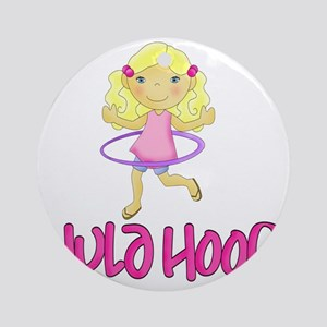 Hula Hoop Girl -Pink- Round Ornament