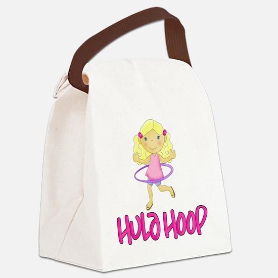Hula Hoop Girl -Pink- Canvas Lunch Bag