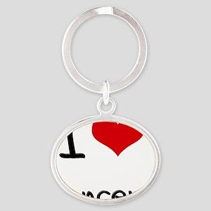 I Love Dancers Oval Keychain