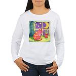 Cat and Moon Watercolor Women's Long Sleeve T-Shir
