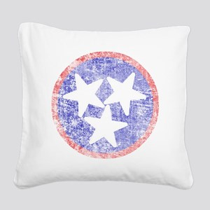 Faded Tennessee American Square Canvas Pillow