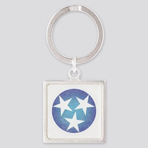 Cool Blue Tennessee Square Keychain