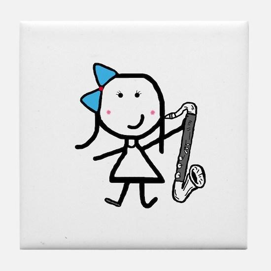 Girl & Bass Clarinet Tile Coaster