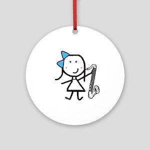 Girl & Bass Clarinet Ornament (Round)
