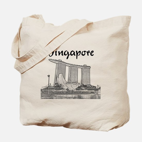 Singapore_10x10_v1_MarinaBaySands_BlackGr Tote Bag