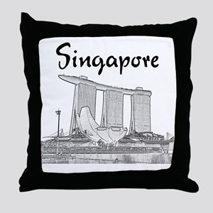 Singapore_10x10_v1_MarinaBaySands_Bla Throw Pillow