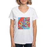 Multicolor Oak Leaf Art Women's V-Neck T-Shirt