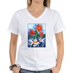 Fish and Flowers Art Women's V-Neck T-Shirt