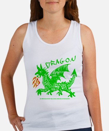 Green Gestural Dragon Women's Tank Top
